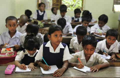students in classroom in india