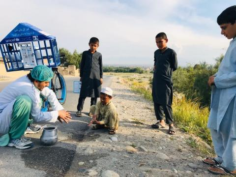 Idress Seyawash, founder of Ketab lwast mobile library started his travel from Jalalabad city to Behsood district as part of 25 days campaign to raise awareness on COVID 19 key preventative measure and promote handwashing with children at rural villages.