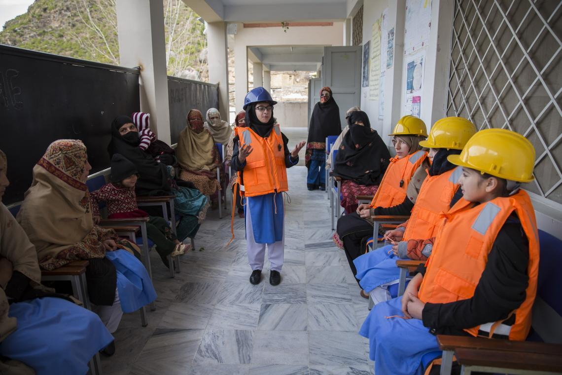 Laleena Baseer, who is in 6th grade gives a safety training along with her teachers at Government Girls Middle School in Araq, Swat, Khyber Pakhtunkhwa.