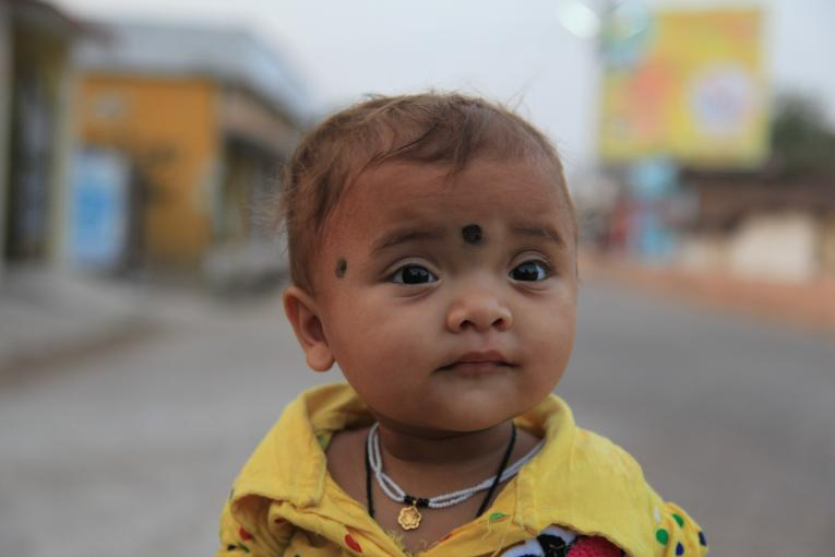 A young child in India