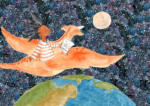 "Illustration of a young girl riding a dragon above the earth towards the moon, from UNICEF's story ""My Hero Is You"" about how kids can fight COVID-19."