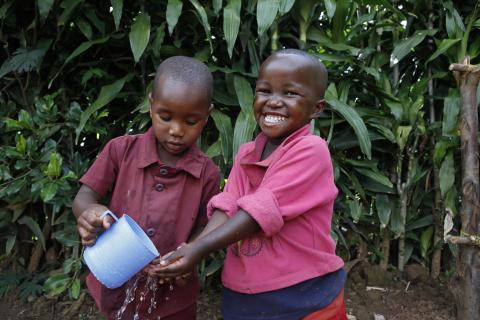 Children washing hands in Gicumbi
