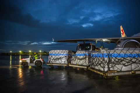 Cargo plane offloading UNICEF supplies