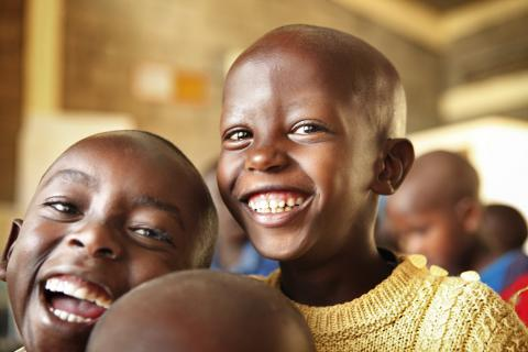Two boys in an early childhood development centre supported by UNICEF Rwanda