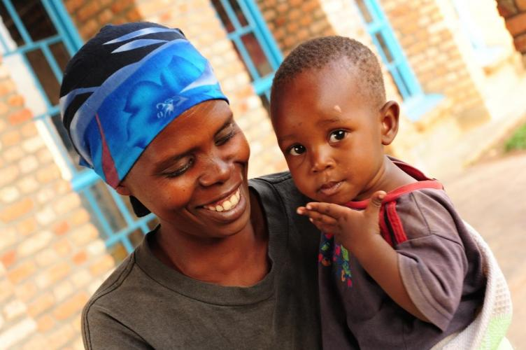 Mukashyaka Alivera with her one-year-old son, Munezero Velence, at Bugarura Early Childhood Development Centre in Rwanda.