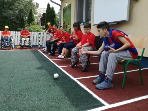 Children playing boules in Velika Plana