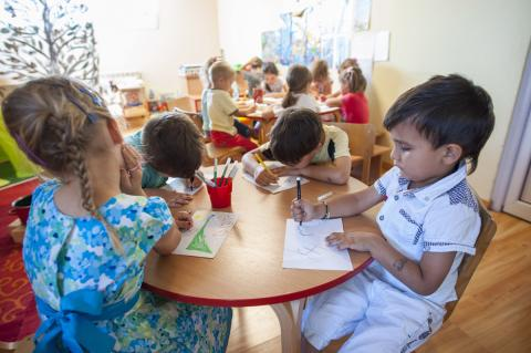 Children drawing at kindergarten