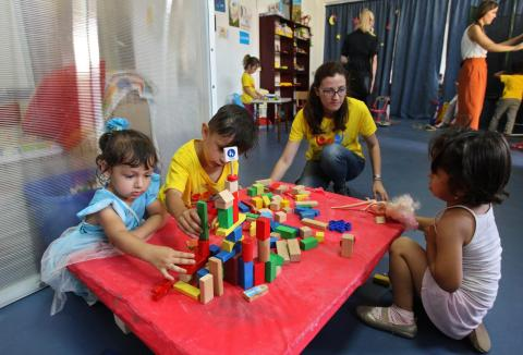A creative workshop at the Child Friendly Space.