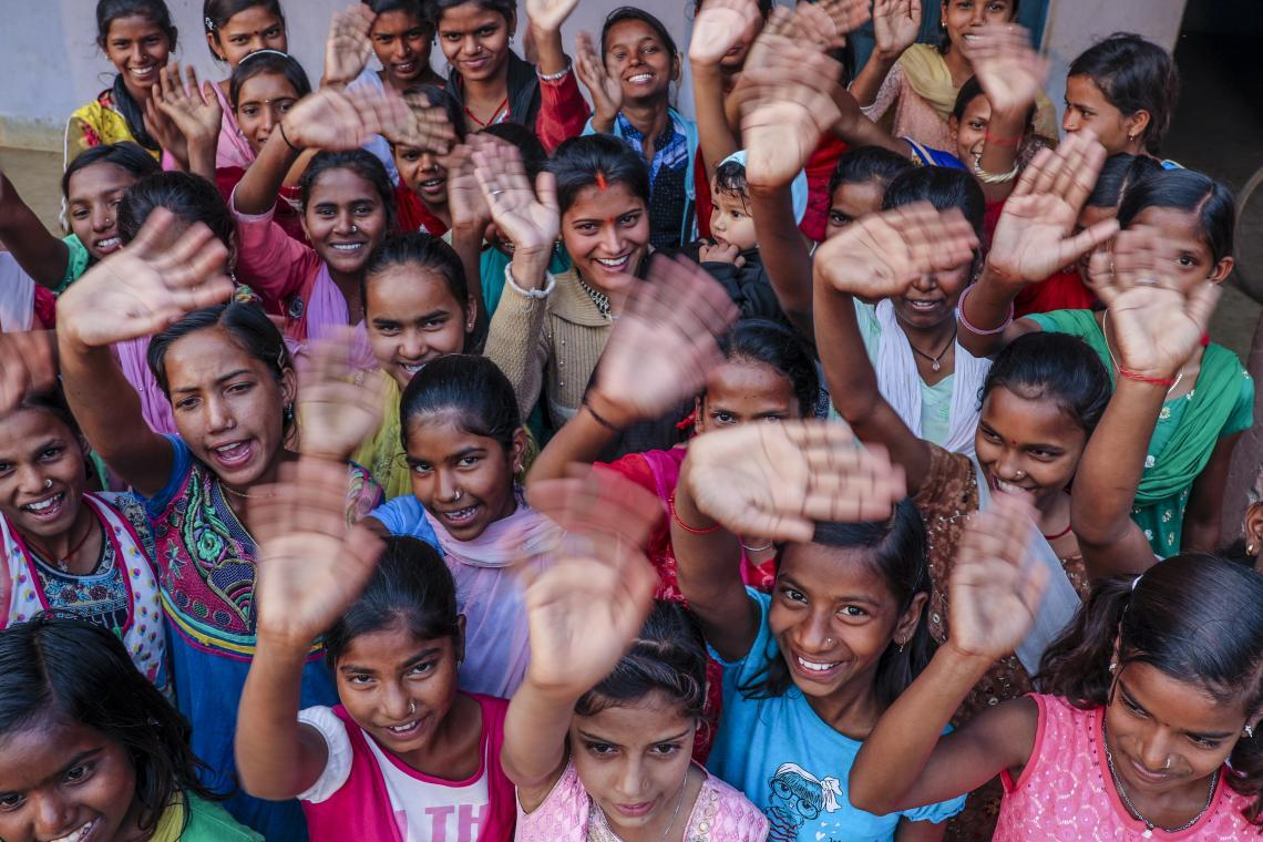 A group of adolescent girls take a stance against child marriage at a karate a class organized as part of a UNICEF-supported programme in Giridih District, in India's Jharkhand state.