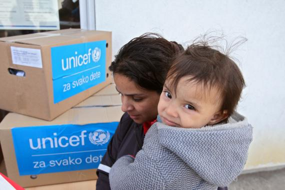 Distribution of UNICEF winter clothes for refugee and migrant children