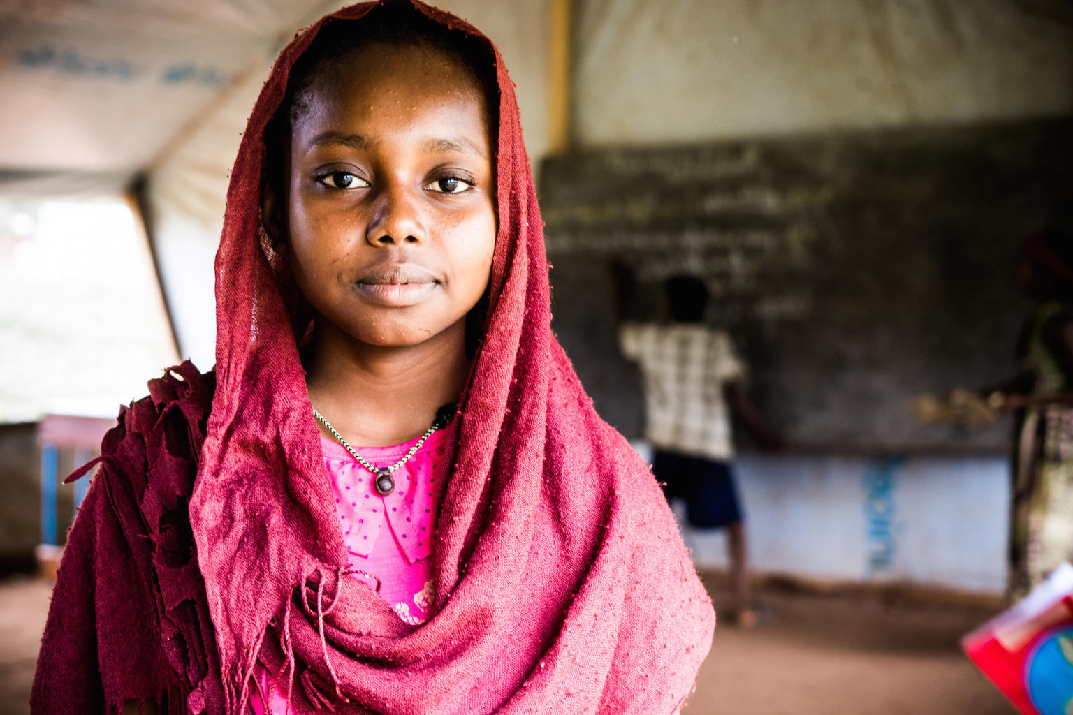 Faozea Mahmout, 14, at the school she attends in Danamadja, southern Chad.