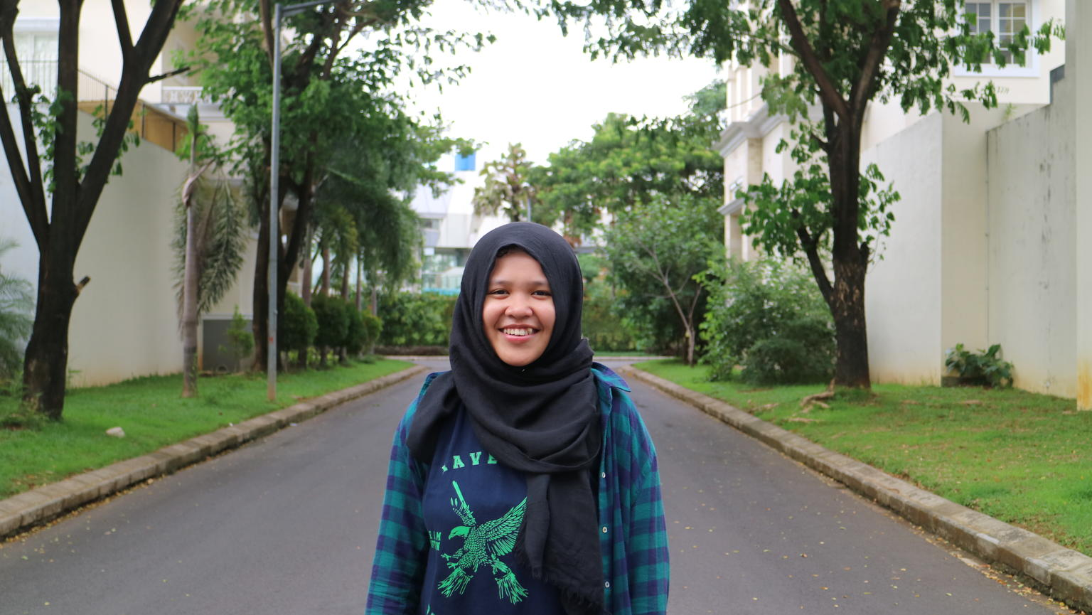 Portrait of Rizka Raisa Fatimah Ramli, a 17-year-old student from Makassar, Indonesia, and winner of the UNICEF and Comics Uniting Nations' worldwide comic contest