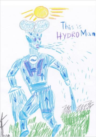 A pencil drawing of a blue superhero named 'Hydroman'
