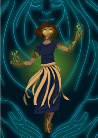 An illustration of a glowing female superhero with vines on her arms