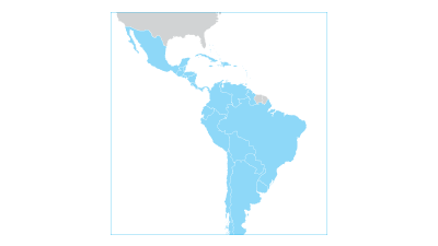 Map highlighting Latin America and the Caribbean region