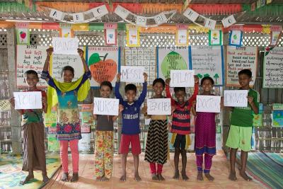 A group of children standing in a classroom in Cox's Bazar, Bangladesj