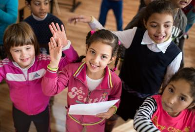 Convention on the Rights of the Child: Children rehearse a song together in a school in Romania.
