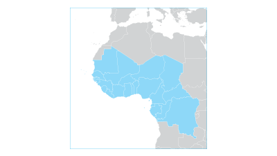 Map highlighting the Western and Central Africa region