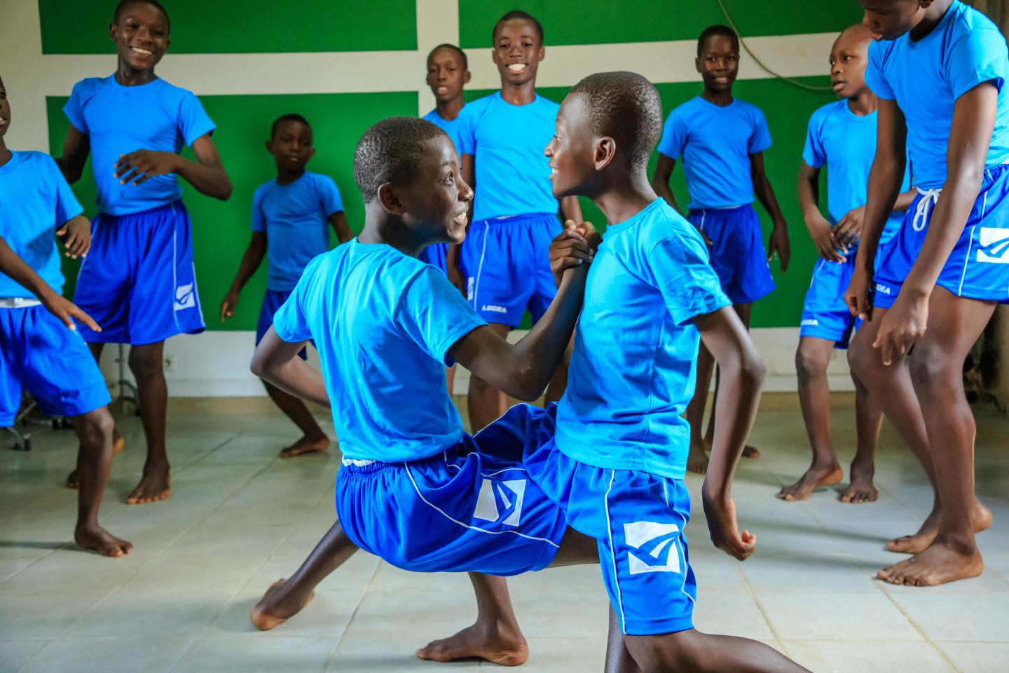 Convention on the Rights of the Child: A group of children dancing at an orphanage in Cote d'Ivoire to mark World Children's Day.