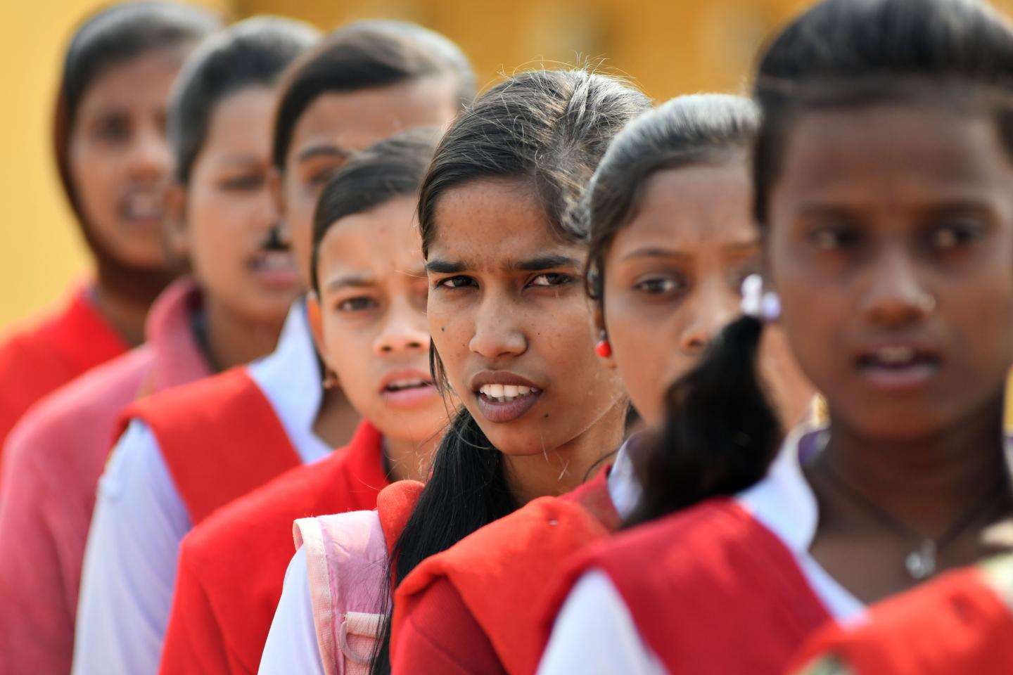 In Hutmura Harimati Girls High School in India, Kiran actively engages on issues that affect girls, including child marriage. One in three of the world's child brides live in India.
