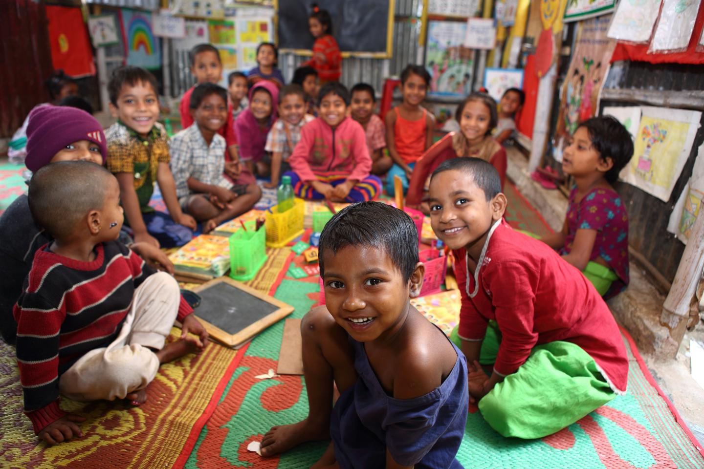 Children attend pre-school with fun and joy in Dhaka.