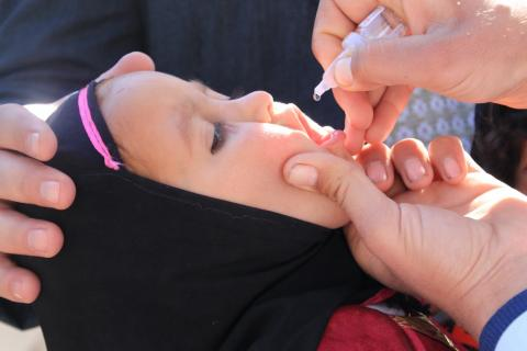 A child is given oral polio vaccine, Afghanistan