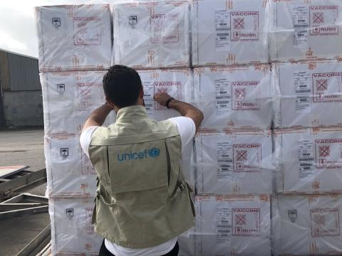 A UNICEF-chartered plane arrives at Mitiga airport, Tripoli, Libya, on the 25 October 2018, completing the delivery of a total 4.7 million doses of Measles, Rubella and Polio vaccines, as well as 2.75 million doses of Vitamin 'A' supplement, syringes and safety boxes.
