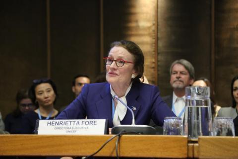 "UNICEF Executive Director Henrietta Fore speaks at the First regional dialogue in Latin America and the Caribbean ""On the road to equality"": 30 years of the Convention on the Rights of the Child"" in Santiago, Chile"