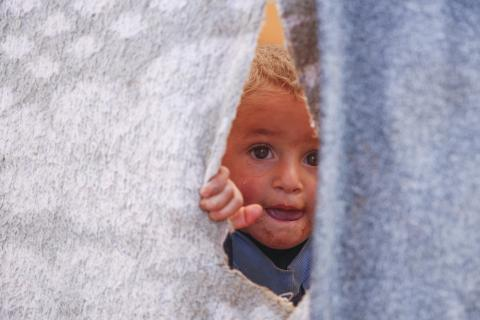 On 16 November 2019 in Idlib governate, Syrian Arab Republic, a child peeks out of a temporary shelter in an informal settlement in Killi, near the border with Turkey.
