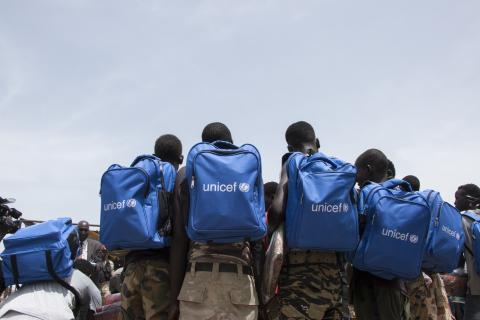 Children just released from an armed group in Pibor have just received new backpacks.
