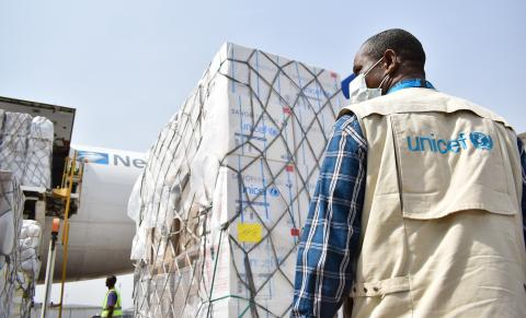 Supplies arrive at Nnamdi Azikiwe International Airport in Abuja, Nigeria
