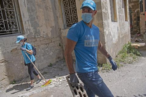 On 8 August 2020 in Beirut, Lebanon, UNICEF personnel and partners join efforts with local residents to clean up the streets in the areas most devastated by the massive explosion that took place on 4 August.