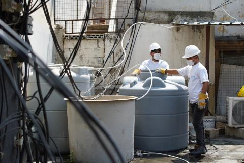 On 21 August 2020, following the explosions that took place in Beirut, UNICEF and its implementing partners install water tanks in Karantina Hospital, schools and buildings while repairing the pipework in the affected buildings.