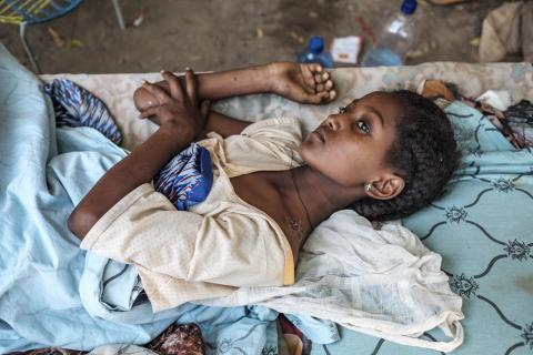 A young girl recovers from her wounds at her house, in Humera, Ethiopia, on 22 November 2020.