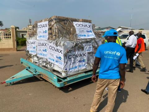 On 25 March 2021, 132,000 doses of the Astra Zeneca COVID-19 vaccine arrived at the Juba International Airport, the first of several vaccine shipments scheduled to arrive over the coming months to South Sudan through the support of the COVAX Facility.