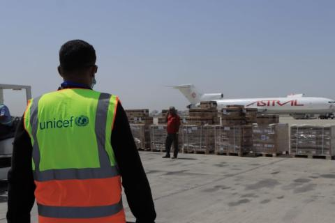 COVID-19 vaccine doses shipped via the COVAX Facility arrive at Aden International Airport in Aden, Yemen, on 31 March, 2021.