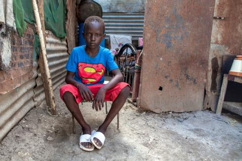 Ten year old Chogi James Thoh is photographed at home in Malakal's Protection of Civilians (PoC) site in South Sudan on 29th October 2020.