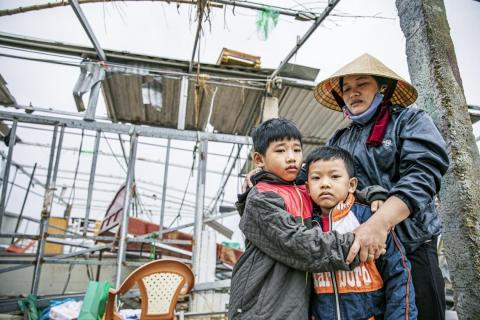 Family affected by floods in Viet Nam