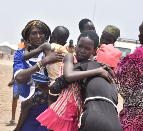 Tears of happiness when Emmanuela* 36, met her children in Bentiu Protection of Civilian (POC) site after five years of separation on 16 April 2019.