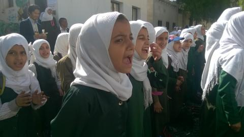 Children yell in unison, Yemen
