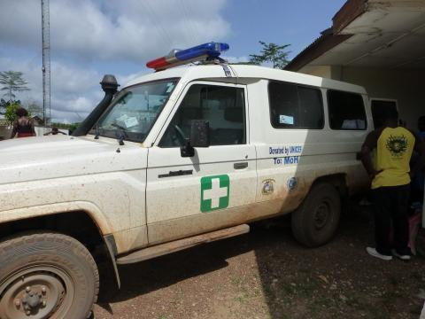 One of the 19 four-wheel drive ambulances donated by UNICEF