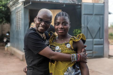 UNICEF Goodwill Ambassador Angélique Kidjo with one of the girls who lives at the Saint Joseph Parakou orphanage, Parakou, Benin on 2 October 2019.
