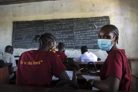 South Sudan. Students study in a classroom.