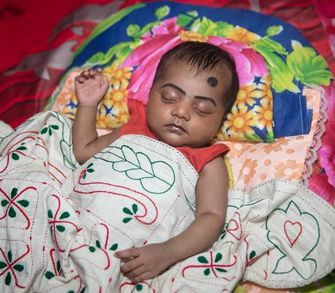 Sumaiya developed a high fever on the 16th day of her birth, and she was taken to Patukhali Sadar Hospital the next day in Bangladesh. She returned home after 8 days of treatment in the hospital.