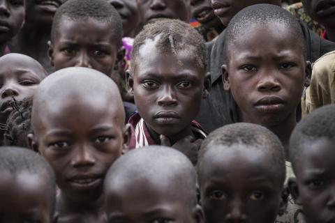 Children gather at the school in Ndenga village, 30 kilometres from Kaga Bandoro, Central African Republic.