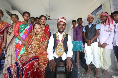 Adolescents in Nepal perform a sketch on child marriage as part of a global programme to help end child marriage