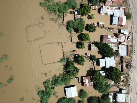 Malawi. An aerial view of flood affected areas.
