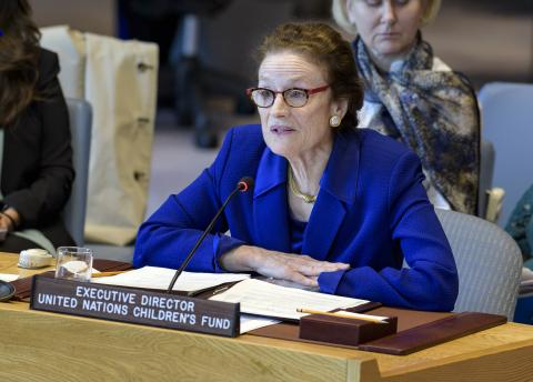 FILE PHOTO: On 15 May 2019, UNICEF Executive Director Henrietta Fore addresses the United Nations Security Council.