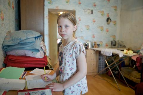 "Ten years old getting ready to go to school in Nur-Sultan, Kazakhstan. In 2019, UNICEF initiated a 'cash plus"" model of services jointly with the Ministry of Labour and Social Protection to enhance the impact of cash transfer on child poverty."