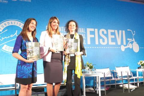 Natalie Draisin (Fundación FIA), María Fernanda Rodríguez (Fundación Gonzalo Rodríguez) and Luisa Brumana (UNICEF LACRO), launched the Streets for Life report during the Third International Forum for Child Road Safety, in Buenos Aires.